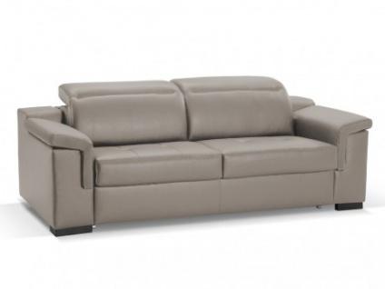 Schlafsofa Leder Express Bettfunktion mit Matratze 3-Sitzer Hippias - Standardleder - Grau
