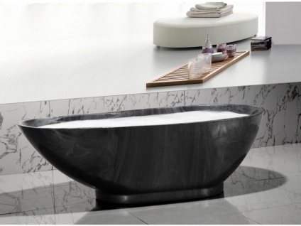 Freistehende Badewanne Marmor-Optik MARBELA - 180x85x58cm - Schwarz - Vorschau 5