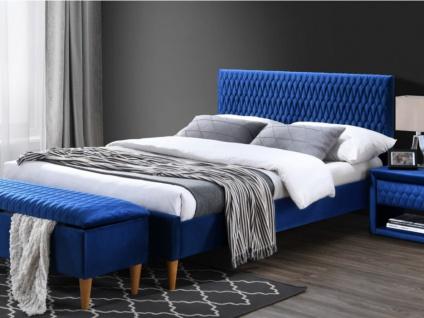 Bett mit Kopfteil Samt DANIELE - 140x190cm - Blau