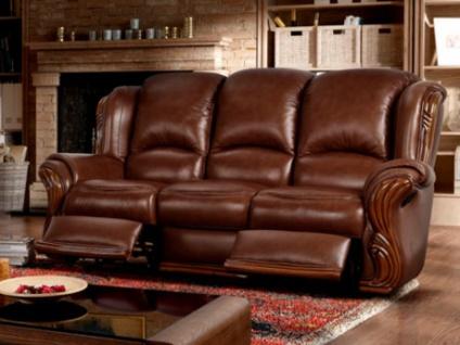 Relaxsofa Leder 3-Sitzer Loumea - Braun