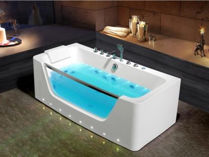 LED-Whirlpool Badewanne DYONA - 1 Person - 206 L - Weiß