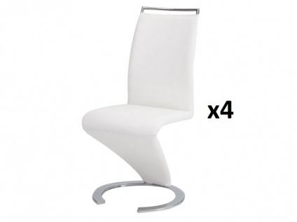Stuhl Freischwinger 4er-Set Twizy - Weiß - Vorschau 2