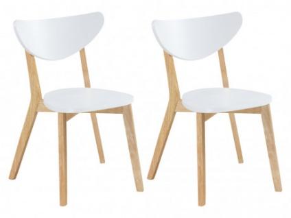 Stuhl Holz massiv 2er-Set CARINE - Weiß