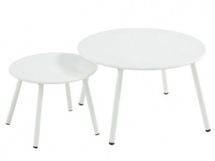 Garten Couchtisch 2er-Set Metall MIRMANDE - Weiß