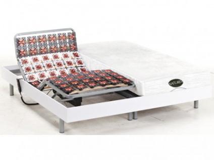 Matratzen elektrischer Lattenrost 2er-Set mit Okin-Motor Lysis III - 2x100x200cm - Weiß