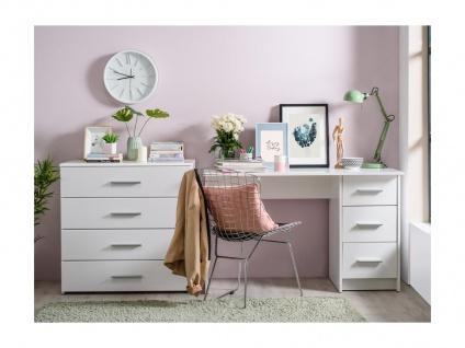 Schreibtisch LEONDINE - 3 Schubladen - Weiß