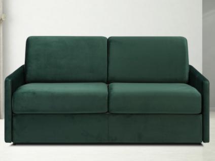 Schlafsofa 3-Sitzer Samt CALIFE - Tannengrün - Liegefläche: 140 cm - Matratzenhöhe: 18cm