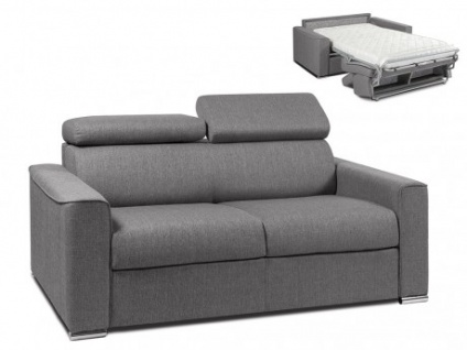 Schlafsofa 2-Sitzer Stoff VIZIR - Grau - Liegefläche: 120 cm - Matratzenhöhe: 14cm