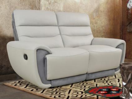 Relaxsofa Leder mit Microfaserdetails 2-Sitzer COSMY - Hellgrau/Anthrazit