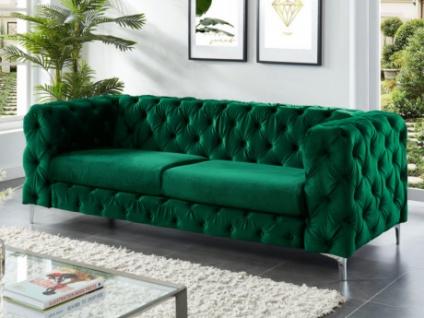 3-Sitzer Chesterfield Sofa Samt FARINO - Grün
