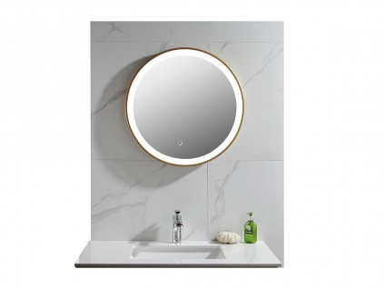 Spiegel mit LED-Beleuchtung NUMEA - B 60 x H 60 cm - Goldfarben