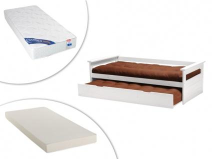 Set Ausziehbett Massivholz ALFONSO + 2 Matratzen - 2x90x190cm - Weiß