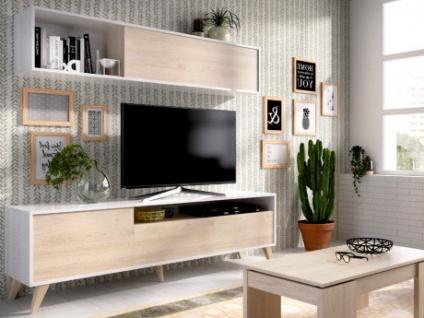 TV-Möbel TV-Wand mit Stauraum ALBORA - Weiß/Eichenholzfarben