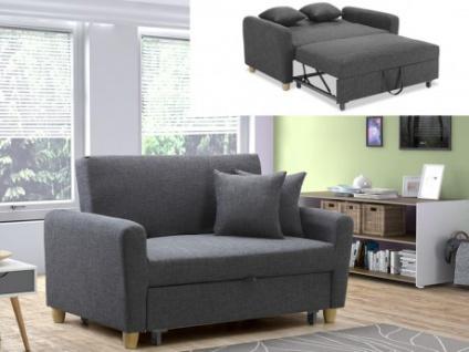 2-Sitzer Sofa Stoff mit Bettfunktion Xavier - Grau