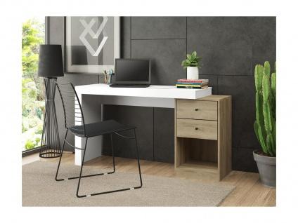 Schreibtisch ausziehbar EVAN - 2 Schubladen & 1 Ablage - Weiß & Eiche