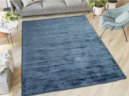 Teppich LOUVAIN - 100% Viskose - 160x230 cm - Dunkelblau - Vorschau 4