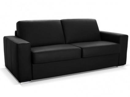 Schlafsofa Leder Express Bettfunktion mit Matratze 3-Sitzer Delectea - Standardleder - Schwarz