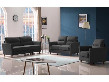 Couchgarnitur 3+2+1 SIDONIE - Stoff - Dunkelgrau