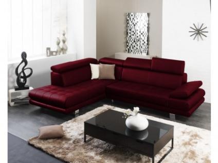 Ledersofa Ecksofa Effleurement - Luxusleder - Rot- Sofaecke Links