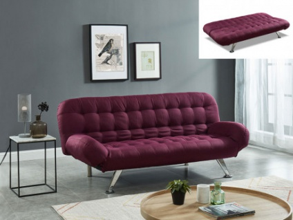 Schlafsofa Klappsofa Stoff BERRY - Pflaume