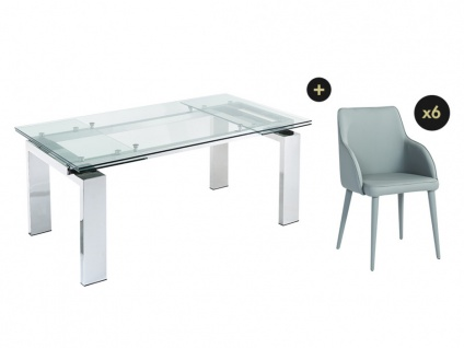 Essgruppe LUBANA: Esstisch + 6 Stühle - Vorschau 2
