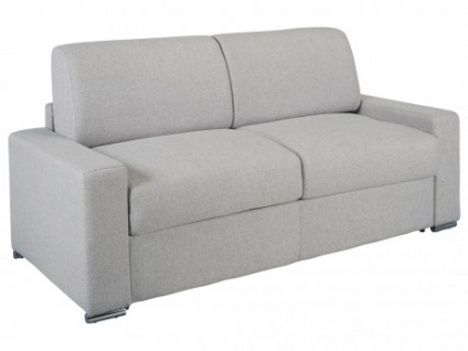 Schlafsofa 3-Sitzer Stoff CALITO - Grau - Liegefläche: 140 cm - Matratzenhöhe: 22cm