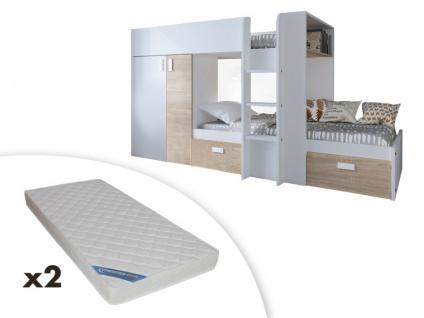 Set Etagenbett mit Kleiderschrank JULIEN + 2 Matratzen - 2x90x190cm - Weiß/Eichenholzfarben