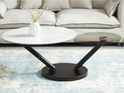 Couchtisch mit drehbaren Tischplatten YARA - Keramik & Glas - Weiß mit Marmor-Effekt