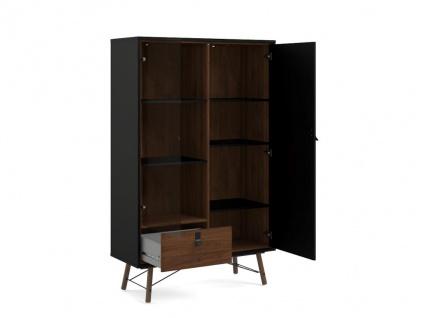 Vitrinenschrank FURESO - 2 Türen & 1 Schublade - Nussbaumfarben & Anthrazit - Vorschau 5