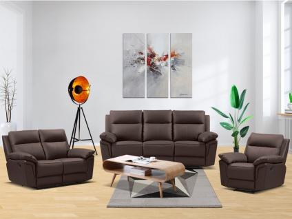 Relaxgarnitur 3+2+1 PAKITA - Büffelleder - Braun