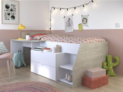PARISOT Kinderbett mit Schreibtisch & Stauraum GISELE - 90x200cm