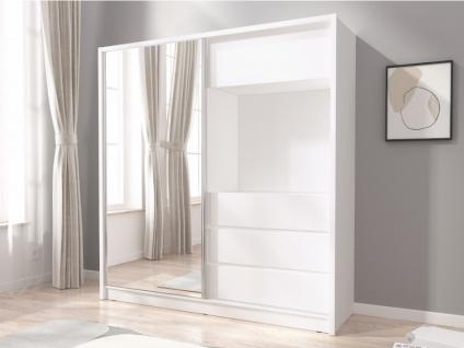 Kleiderschrank mit Spiegel ELIAS - 1 Schiebetür & 3 Schubladen - B: 204 cm - Weiß