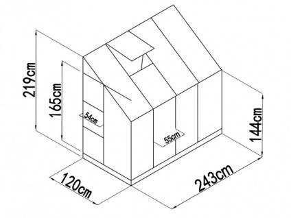 Anlehn-Gewächshaus Aluminium Zenais - 2, 9 m² - Vorschau 3
