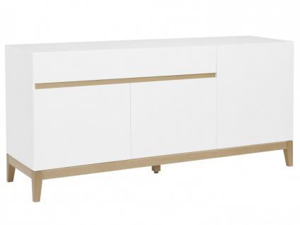 Sideboard Hochglanz SEDNA - 3 Türen + 1 Schublade - Weiß-Holzfarben - Vorschau 2
