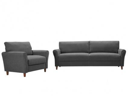 Couchgarnitur 3+1 ELALY - Stoff - Grau
