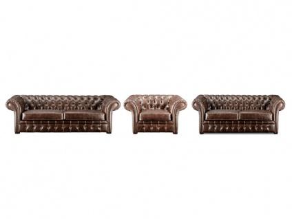 Chesterfield Garnitur 3+2+1 CLOTAIRE - Vintage Leder - Braun