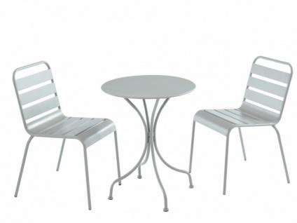 Garten Essgruppe Metall MIRMANDE - Tisch D. 60 cm & 2 Stühle - Grau - Vorschau 1