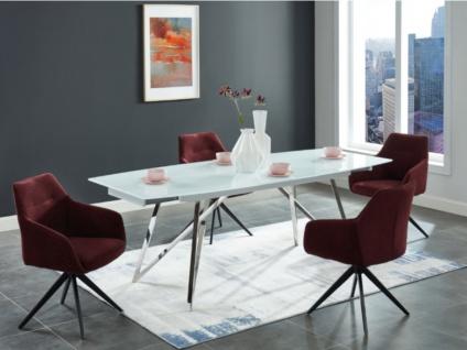 Esstisch ausziehbar KAMIRA - Glas & Stahl - Weiß