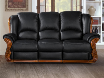 Relaxsofa Leder 3-Sitzer LOUMEA - Schwarz