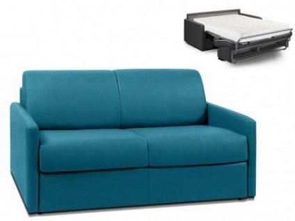 Schlafsofa 2-Sitzer Stoff CALIFE - Türkis - Liegefläche: 120 cm - Matratzenhöhe: 18cm