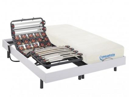Matratzen elektrischer Lattenrost 2er-Set mit Viscoschaum und Okin-Motor DIONYSOS von DREAMEA - Weiß - 2x80x200cm