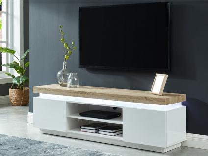 TV-Möbel mit LED-Beleuchtung HALO II - 2 Türen - Weiß & Eichefarben