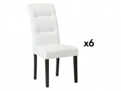 Stuhl 6er-Set Leder TADDEO - Weiß - Vorschau 2