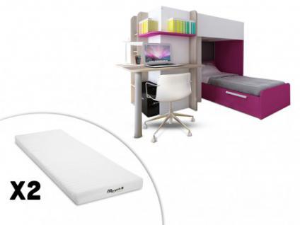 Set Kinderbett mit Schreibtisch SAMUEL + 2 Matratzen STELO - 2x90x190 - Rosa