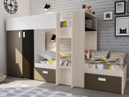Etagenbett mit Kleiderschrank JULIEN - 2x90x190cm - Eichenholzfarben/Braun