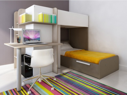 Hochbett mit Schreibtisch SAMUEL + Bettboden - 2x90x190cm - Braun