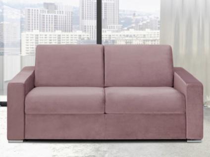Schlafsofa 3-Sitzer Samt CALITO - Rosa - Liegefläche: 140 cm - Matratzenhöhe: 18cm