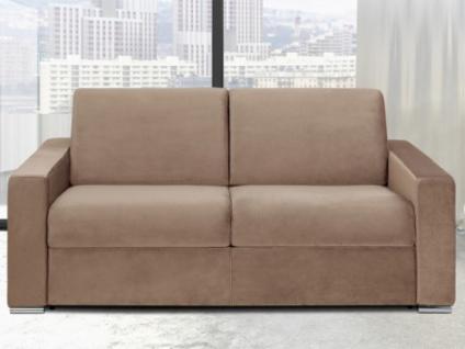 Schlafsofa 3-Sitzer Samt CALITO - Beige - Liegefläche: 140 cm - Matratzenhöhe: 18cm