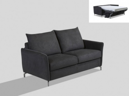 Schlafsofa 3-Sitzer Express Bettfunktion Stoff LENZO - Schwarz/Grau