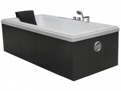 LED-Whirlpool Badewanne Atlas - 1 Person - 300 L - Grau
